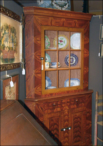 Keno Inaugural Auction May 1-2, 2010 - Mount Pleasant Adams County Pennsylvania grain painted corner cupboard, mid 19th century brought $10710