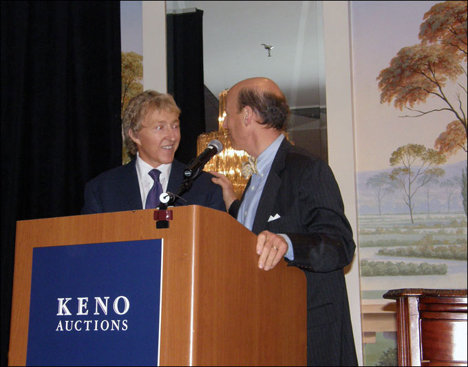 Keno Inaugural Auction May 1-2, 2010 - Leigh Keno talking to Michael Grogan of Grogan and Co. who helped with the auctioneering