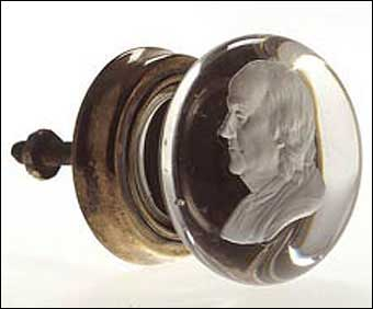 Glass Manufacturing: Pittsburgh, PA - Sulphide furniture knob with Benjamin Franklin. 1826-1845