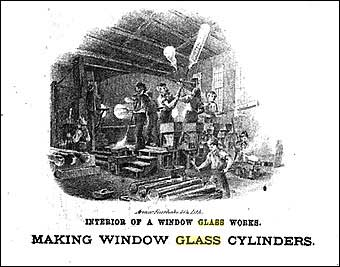 Glass Manufacturing: Pittsburgh, PA - Making window glass cylinders
