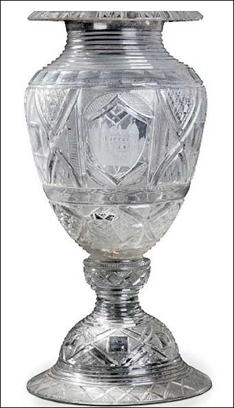 Glass Manufacturing: Pittsburgh, PA - One of the vases presented to Lafayette on his trip to Pittsburgh in May 1825. The vase sold at Christie's in Paris for $267,022. It is signed and dated on the base of the vase 'Bakewell Page Bakewells Pittsburgh 1825' or '1829.' The body of the vase was restored and has some chips, cracks and losses.