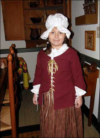 East Berlin Christmas House Tour - Grace dressed up as a colonial girl at the George Laurentz House<br>