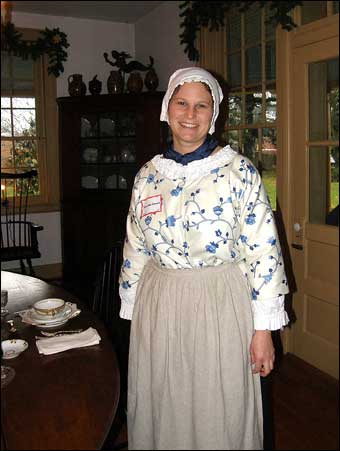 East Berlin Christmas House Tour - Jennifer Oswald dressed up as a colonial lady<br>