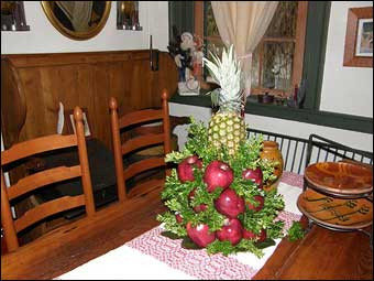 East Berlin Christmas House Tour - A decorated table in the dining room<br>