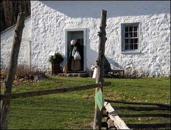 Hopewell Furnace, PA - Outside of a tenant house which was decorated to reflect the year 1795<br>