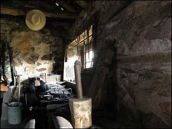 Hopewell Furnace, PA - Inside the blacksmith shop<br>