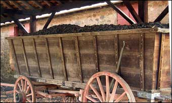 Hopewell Furnace, PA - Coal loaded in a coal car<br>