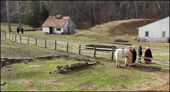 Hopewell Furnace, PA - Pastoral Scene at Hopewell. The blacksmith shop is in the background<br>