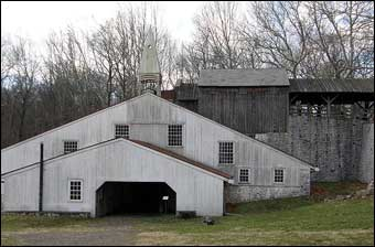 Hopewell Furnace, PA - The Cast House where moulder cast iron into stove plates and other products<br>