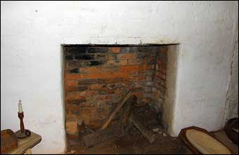 Stagville, NC - A typical fireplace used in the slave quarters at Horton Grove