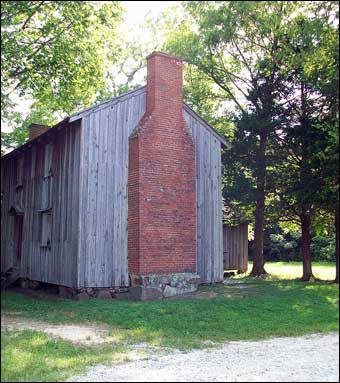 Stagville, NC - One of the slave quarters built by Paul Cameron (1850-1860). All the bricks for the chimney were fired on the plantation.