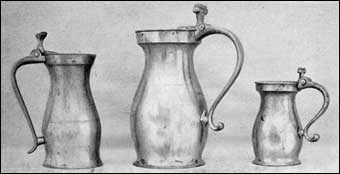 Working with Pewter - American flagons, Bolles Collection
