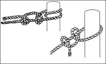 Bed Roping - Use this double half hitch knot to tie the rope to cross pieces<br><br>