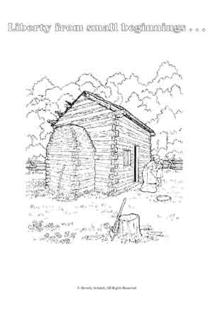 Old Log Cabin Coloring Pages