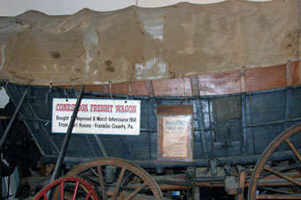 Conestoga Wagon - Another photo of the Conestoga wagon at Rough and Tumble Museum. This wagon was purchased at a farm auction by Earl C. Koons in Greencastle Pennsylvania, Franklin County on March 9, 1968