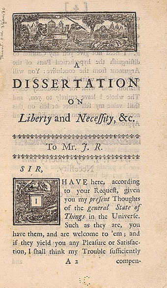 Long S - Ben Franklin's A Dissertation on Liberty and Necessity, &c. 1725